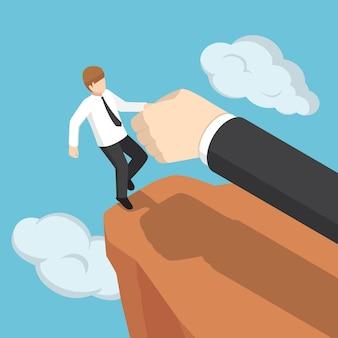 Platte 3d isometrische grote hand helpt zakenman om niet van de klif te vallen. zakelijke hulp en ondersteuning concept. Premium Vector