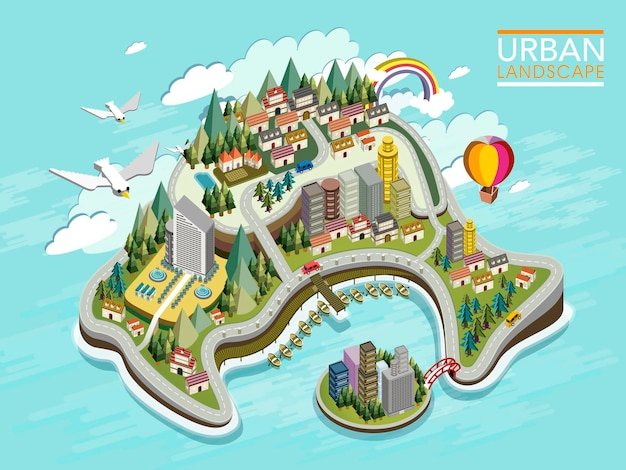 Platte 3d isometrische infographic voor prachtig stedelijk landschap met bos en bergen