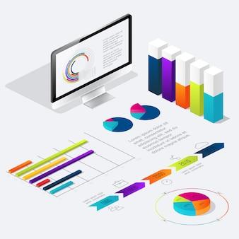 Platte 3d isometrische infographic voor uw zakelijke presentaties.