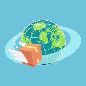 Platte 3d isometrische kartonnen doos vliegen rond de wereld. wereldwijd transport- en logistiekconcept.