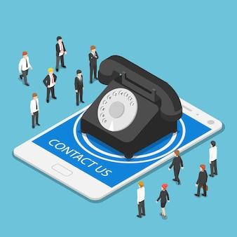 Platte 3d isometrische klassieke telefoon op tablet-pc met contacttekst. klantenondersteuning en bedrijfsconcept.