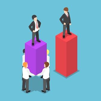 Platte 3d isometrische leider gebruik zijn werknemers
