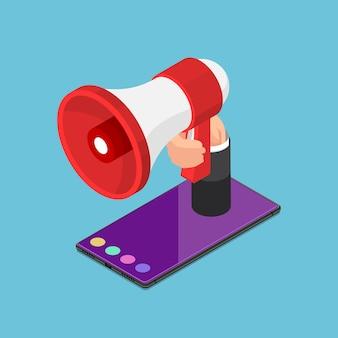 Platte 3d isometrische luidspreker of megafoon in de hand op smartphone. aankondiging en advertentieconcept.