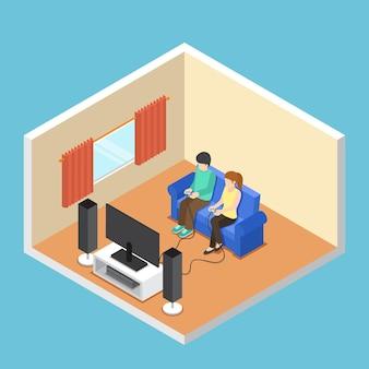 Platte 3d isometrische man en vrouw die videogame spelen in de woonkamer.