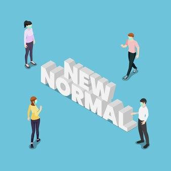 Platte 3d isometrische mensen houden afstand in de openbare samenleving met nieuwe normale tekst. nieuwe normale en sociale afstand voor het voorkomen van covid-19 coronavirus-infectieconcept.