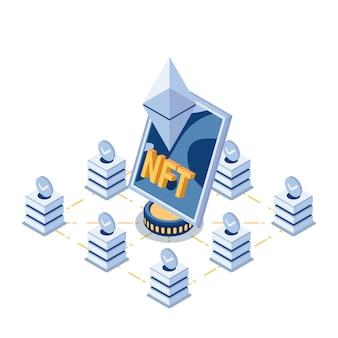 Platte 3d isometrische nft niet-fungible tokens kunst in het centrum van blockchain-technologie. nft en crypto art-concept.
