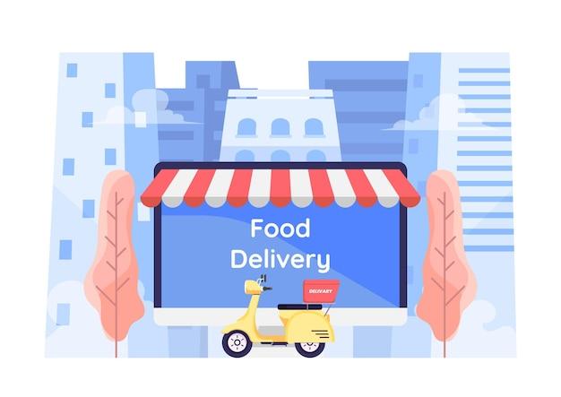 Platte 3d isometrische online eten bestelsysteem op computerscherm met motorfiets op de achtergrond van de stad. online eten bestellen en bezorgen serviceconcept.