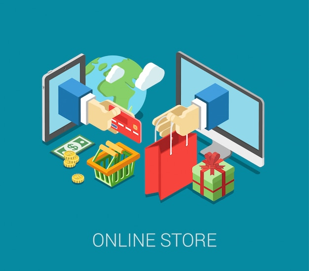 Platte 3d isometrische online winkel e-commerce web infographic concept vector. internet verkoop winkelwagen, betaling, afrekenen, geschenkdoos. hand houd creditcardstick van tablet, papieren zak van computer.