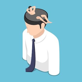 Platte 3d isometrische ontspannen zakenman rust in zichzelf hoofd. een tijd voor ontspanning en vakantieconcept.