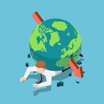 Platte 3d isometrische rode pijl piercing door de wereld op zakenman terug. wereldeconomie crisis concept.