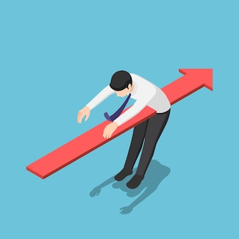 Platte 3d isometrische rode pijl piercing door het lichaam van zakenman. bedrijfsprobleem en financieel crisisconcept.