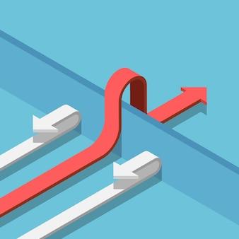 Platte 3d isometrische rode pijl vindt een manier om de muur over te steken naar succes. zakelijke oplossing concept.
