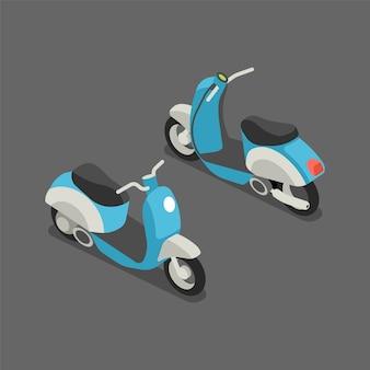Platte 3d isometrische scooter of motorfiets.