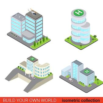 Platte 3d isometrische set van zakelijke kantoor centrum blok gebouw glazen wolkenkrabber ziekenhuis ambulance helikopterplatform