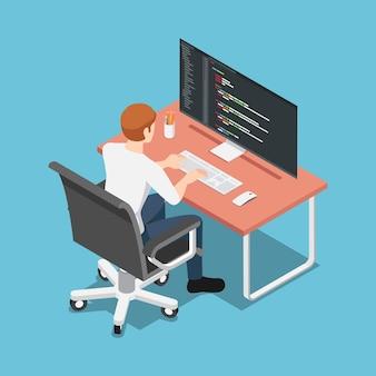 Platte 3d isometrische softwareontwikkelaar of programmeur codering op pc-computer. programmering en web design concept.