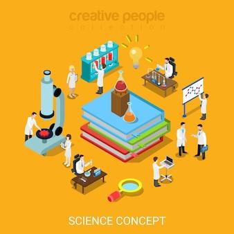 Platte 3d isometrische stijl science lab concept