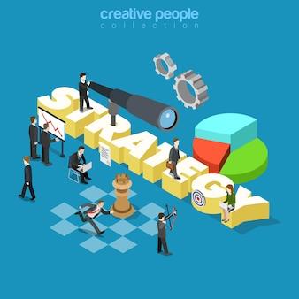 Platte 3d isometrische stijl zakelijke zakelijke onderneming