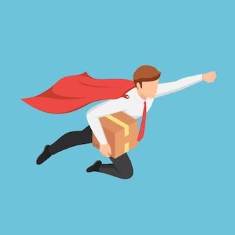 Platte 3d isometrische super zakenman die snel vliegt naar het leveringspakket aan de klant. snelle levering dienstverleningsconcept.