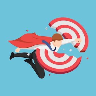 Platte 3d isometrische super zakenman vliegen door en breken doel. zakelijk succes en leiderschapsconcept.