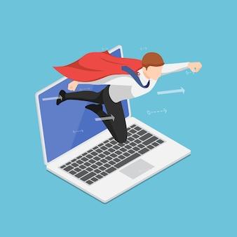 Platte 3d isometrische super zakenman vliegen uit laptop scherm. opstarten van bedrijven en online marketing boost concept.