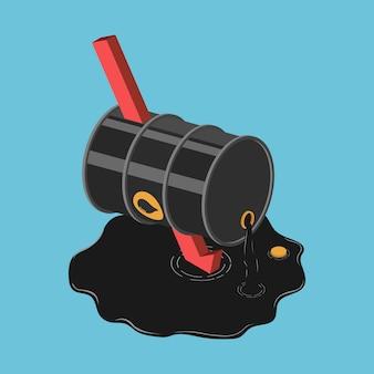 Platte 3d isometrische vallende rode pijl piercing door olievat. olieprijs crisis concept.