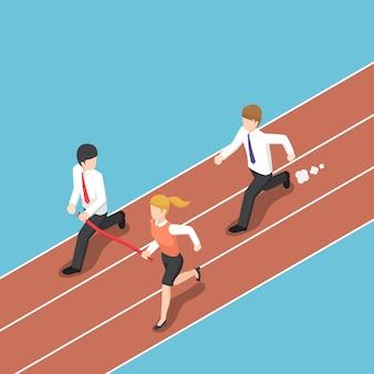 Platte 3d isometrische zakelijke rivaal houdt de finishlijn weg van zakenman. concurrentie bedrijfsconcept.