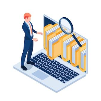 Platte 3d isometrische zakenman beheren mappen en bestanden op laptop scherm. beheer en databasebestandsbeheerconcept.