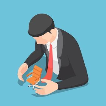 Platte 3d isometrische zakenman bescherming bureaustoel. baanzekerheid en beschermingsconcept.