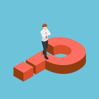 Platte 3d isometrische zakenman denken tijdens het lopen op vraagteken teken. probleem bedrijfsconcept.