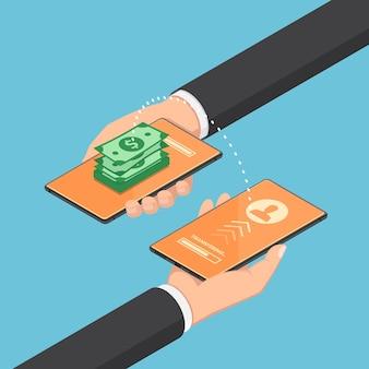 Platte 3d isometrische zakenman die geld overmaakt via online bankieren met hun smartphone. online bankieren en geld overmaken concept.