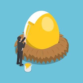 Platte 3d isometrische zakenman die gouden kleur op het ei schildert. financieel en investeringsconcept.
