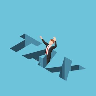 Platte 3d isometrische zakenman die in het belastinggat valt. belasting bedrijfsconcept.