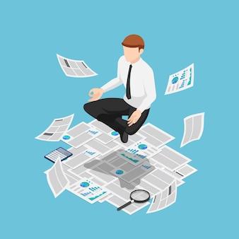 Platte 3d isometrische zakenman die meditatie doet en over papierwerk zweeft