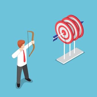 Platte 3d isometrische zakenman die met één pijl in het midden van drie doelen schiet. doel bedrijfsconcept.