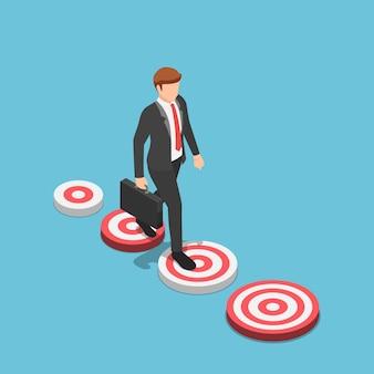 Platte 3d isometrische zakenman die naar het grotere doelwit loopt. zakelijk doel en groter concept voor carrièremogelijkheden.