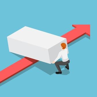 Platte 3d isometrische zakenman die obstakel opheft om de rode pijl te laten passeren. overwin obstakels in bedrijfsconcept.