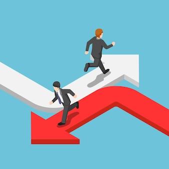 Platte 3d isometrische zakenman die op de verschillende pijl in de tegenovergestelde richting loopt. ander bedrijfsconcept.