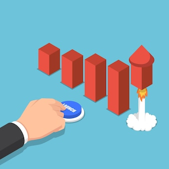 Platte 3d isometrische zakenman die raket lanceert om de grafiek te vergroten. bedrijfsgroeiconcept.