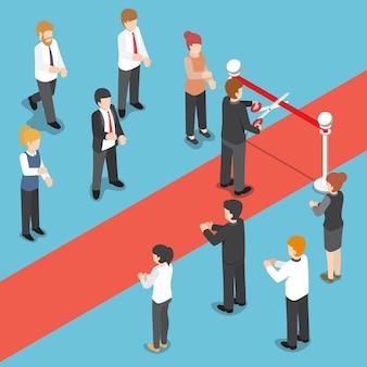 Platte 3d isometrische zakenman die rood lint snijdt bij groots openingsevenement.