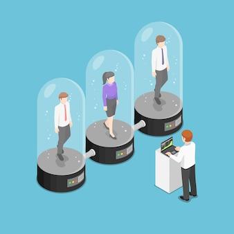 Platte 3d isometrische zakenman die slapende werknemer in de cryogene capsules controleert. personeelsbeheerconcept.