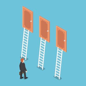 Platte 3d isometrische zakenman die voor drie deuren staat. zakelijke keuze en besluit concept.