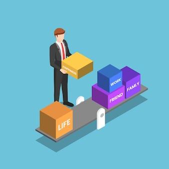 Platte 3d isometrische zakenman die zijn leven probeert te beheren en in evenwicht te brengen. werk en privé balans concept.