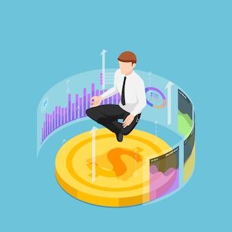 Platte 3d isometrische zakenman doet meditatie in lotus pose op dollar coin en financiële grafiek. financiële analyse en business expert concept.
