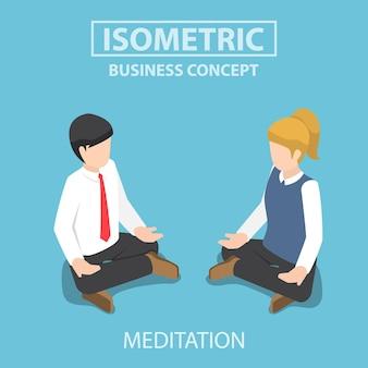 Platte 3d isometrische zakenman doet yoga in lotus houding. meditatie in bedrijfsconcept.