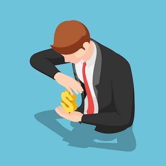 Platte 3d isometrische zakenman dollarteken beschermen. geld bescherming concept.