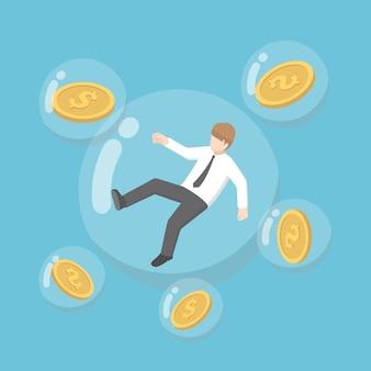 Platte 3d isometrische zakenman en dollar munt drijvend in bubbels. inflatie concept.