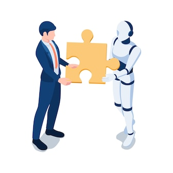Platte 3d isometrische zakenman en robot die het laatste stukje puzzel bij elkaar houden. partnerschap met robot en artificial intelligence technology concept.
