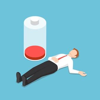 Platte 3d isometrische zakenman flauwvallen op de vloer met een lage energiebatterij. stress en overwerk concept.