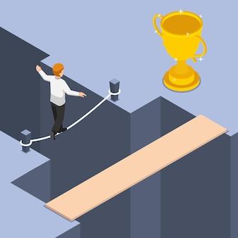 Platte 3d isometrische zakenman gebruikt de kortste en gevaarlijkste manier om een trofee te krijgen. bedrijfsrisico en hoog risico hoog rendement concept.