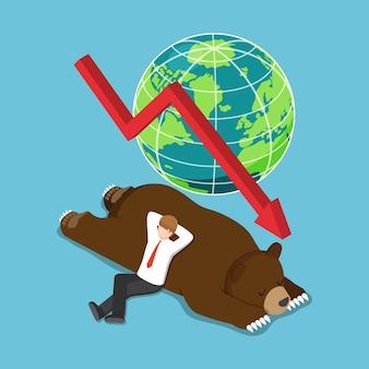 Platte 3d isometrische zakenman ging liggen op slapende beer. bearish aandelenmarkt en financieel concept.